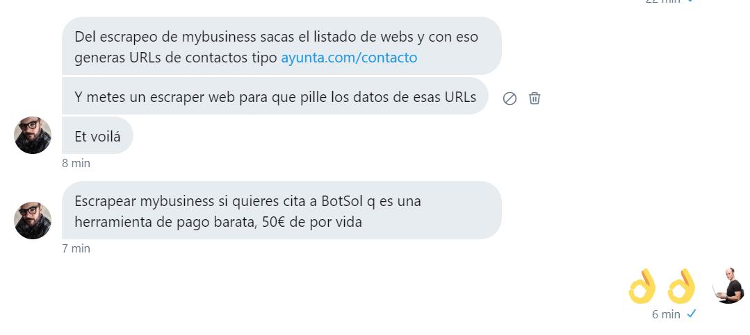 conversacion twitter Xabier Iglesias