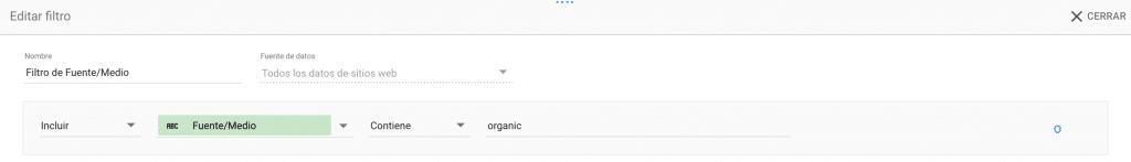 filtro organic data studio