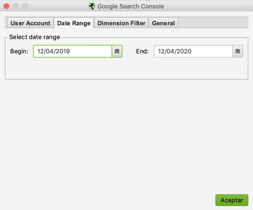 rango de fechas analytics