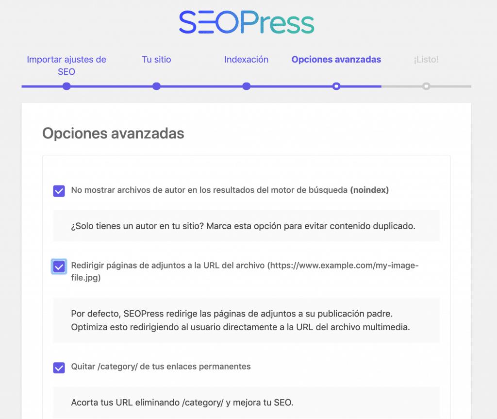 configurando opciones avanzadas en seopress